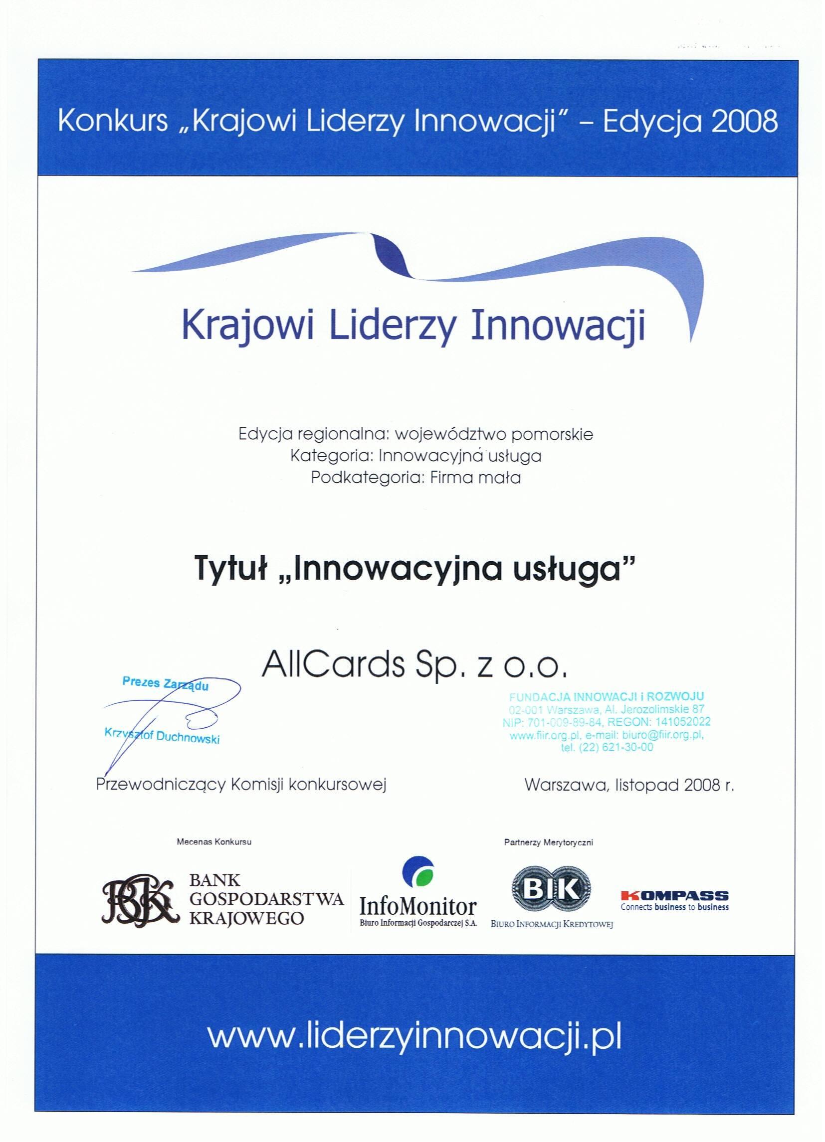 lider innowacji 2008